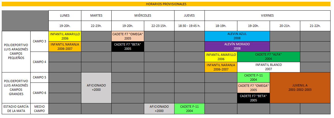 cuadrante horarios Aragonés